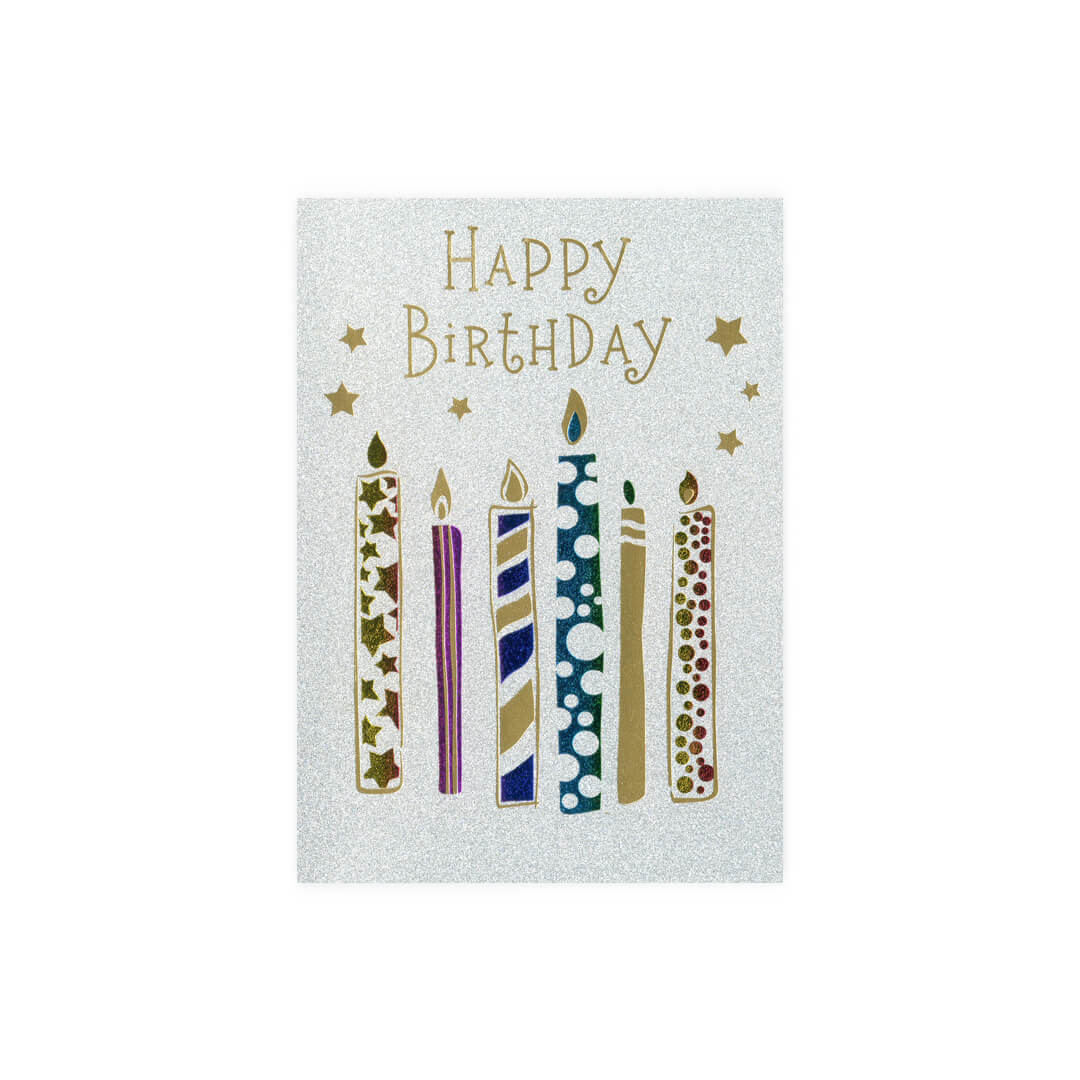 Birthday Candles Glittered Card