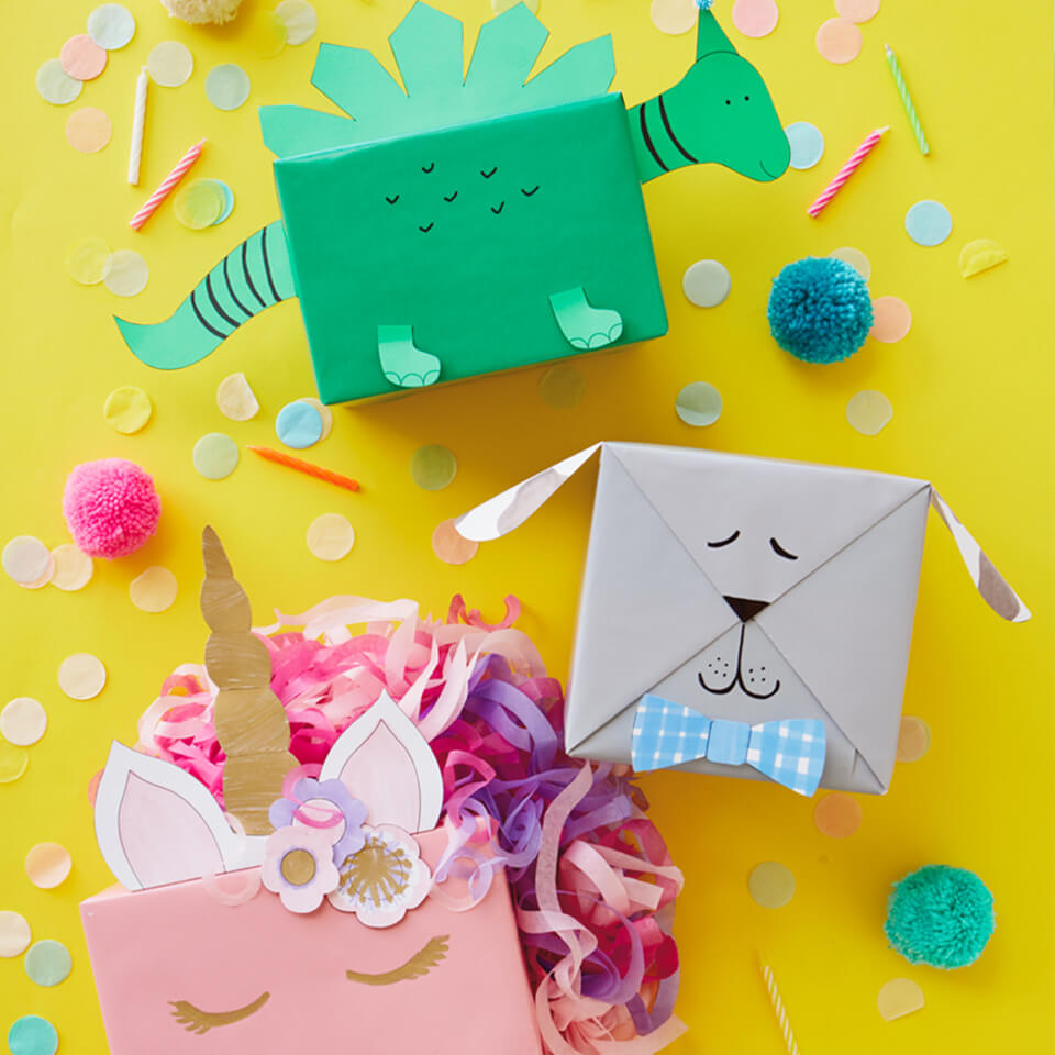 CUTE KIDS GIFT WRAP IDEAS: TURN PRESENTS INTO ANIMALS WITH FREE DOWNLOADS