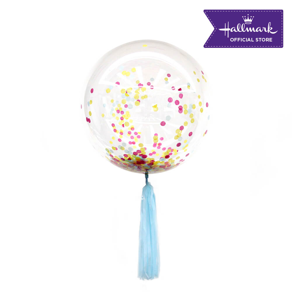 Hallmark Party Party 24-inch Bubble Balloon with Confetti 1pc (Pastel)