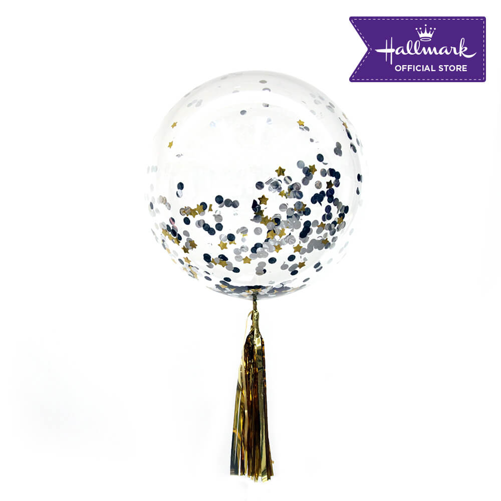Hallmark Party Party 24-inch Bubble Balloon with Confetti 1pc (Black and Gold)