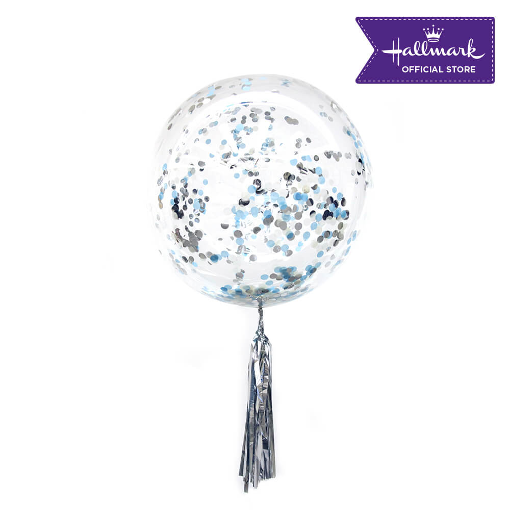 Hallmark Party Party 24-inch Bubble Balloon with Confetti 1pc (Blue)