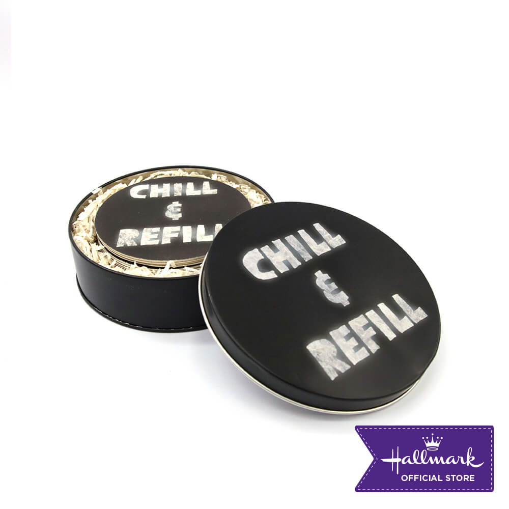 Hallmark Party Party 12-pieces Board Coasters with Canister (Chill And Refill)