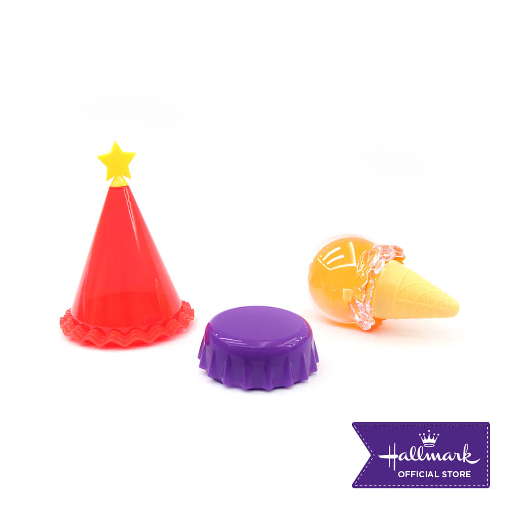 Hallmark 3-pieces Party Canister Set (Red Party Hat, Violet Bottle Cap & Orange Ice Cream Container)