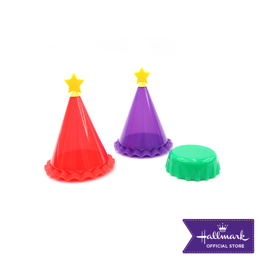 Hallmark 3-pieces Party Canister Set (Red & Violet Party Hat and Green Bottle Cap Containers)