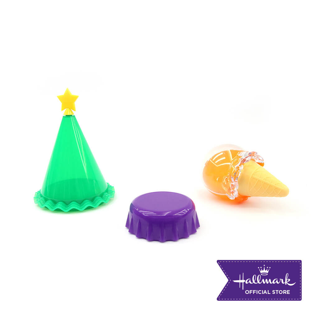 Hallmark 3-pieces Party Canister Set (Green Party Hat, Violet Bottle Cap & Orange Ice Cream Containers)