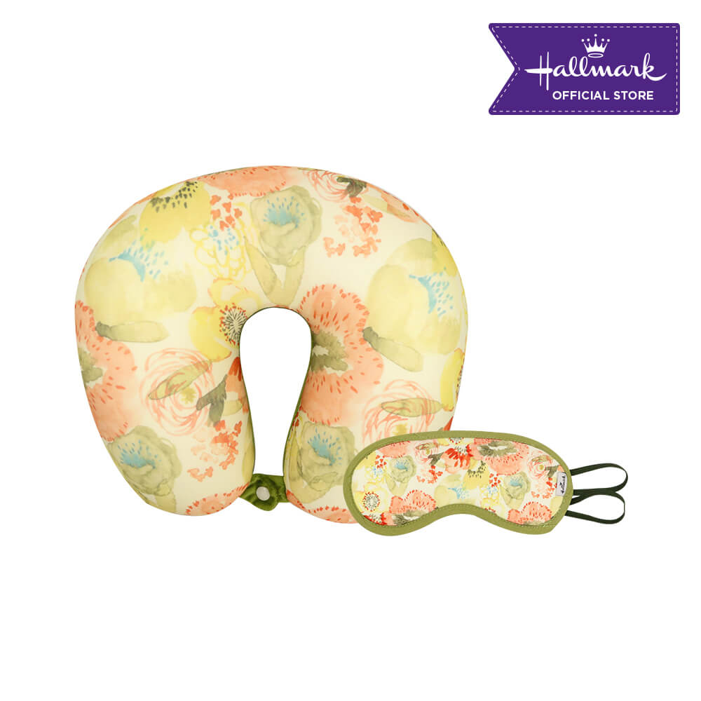 Hallmark Neck Pillow and Sleeping Eye Mask Gift Set C (Floral)