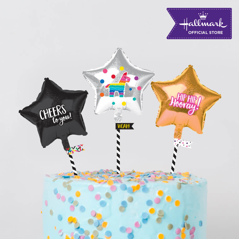 Hallmark Party! Party! Gold and Black Mini Foil Balloon Birthday Cake Toppers