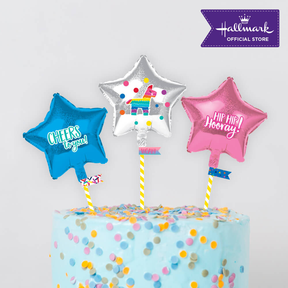 Hallmark Party! Party! Pink and Blue Mini Foil Balloon Birthday Cake Toppers