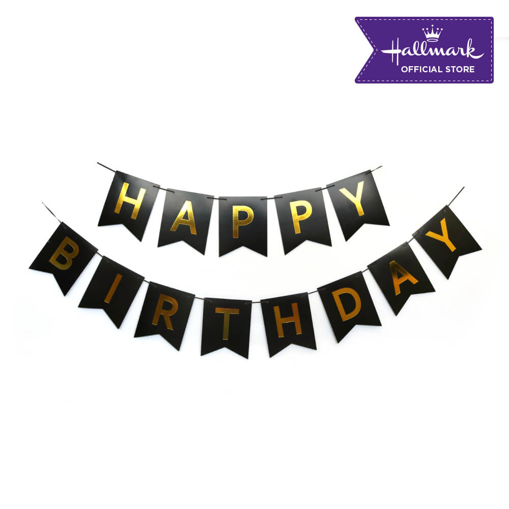 Hallmark Party! Party! Black and Gold Happy Birthday Banner Party Decor
