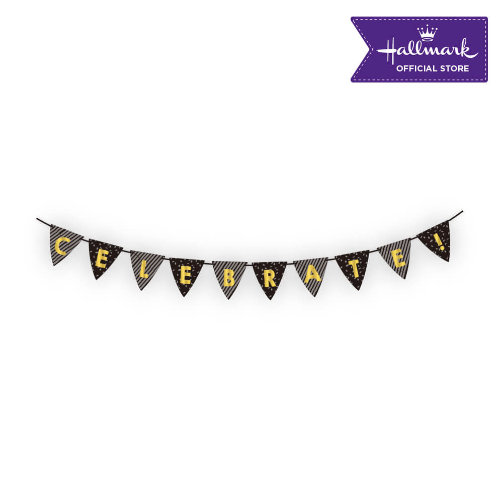 Hallmark Party! Party! Black and Gold Celebrate Birthday Banner Party Decor