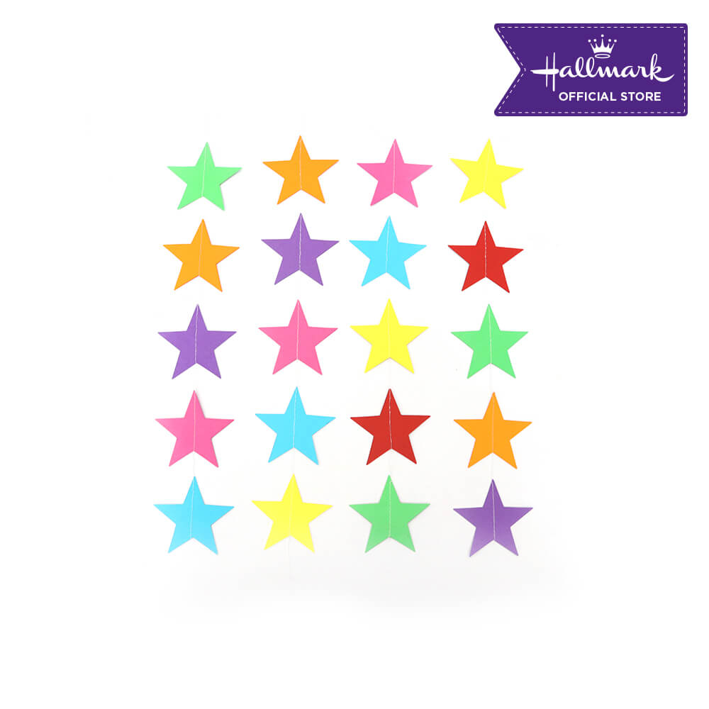 Hallmark Party! Party! Colorful Stars Paper Drop Garland Party Decor