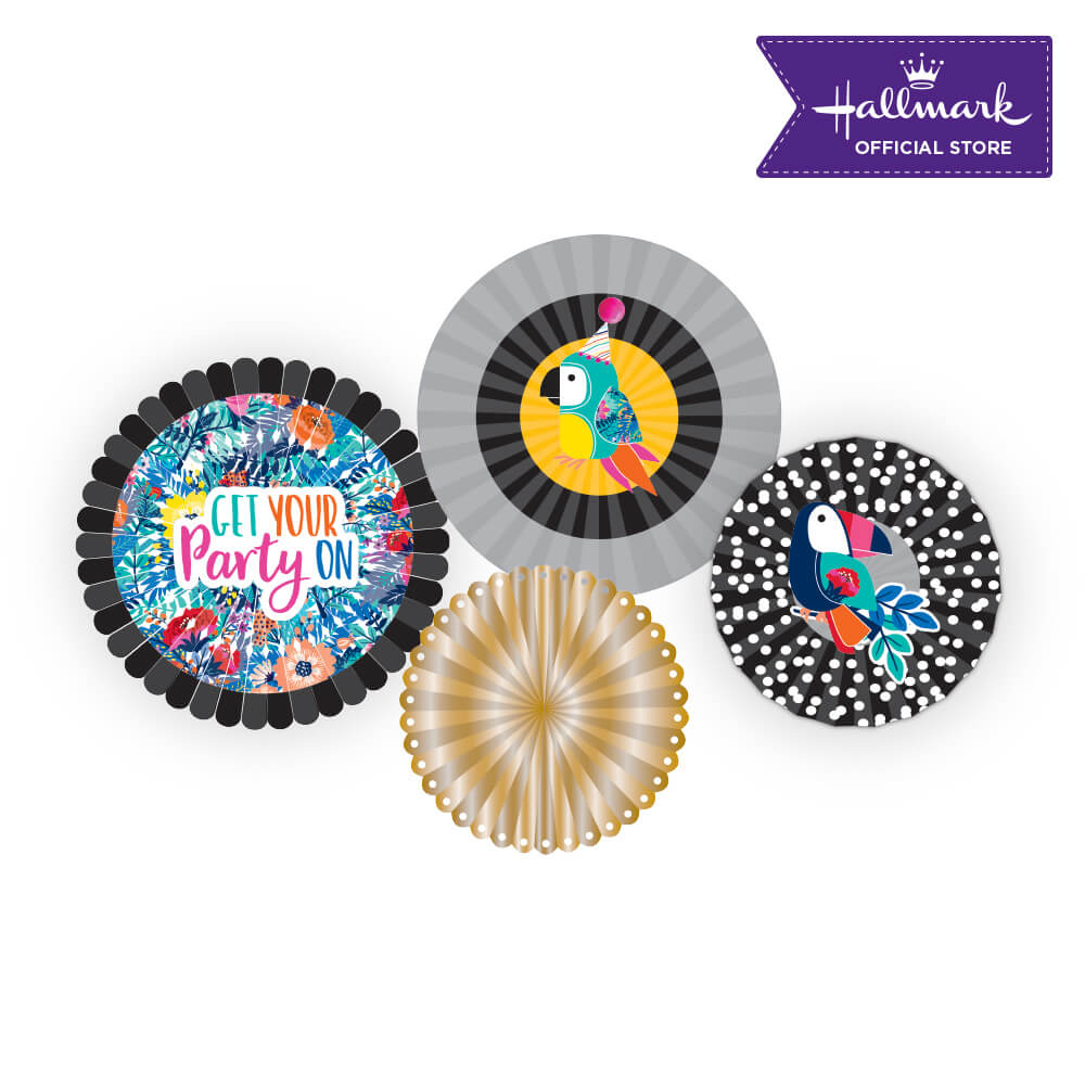 Hallmark Party! Party! Black and Gold Birthday Party Decor Fan Set
