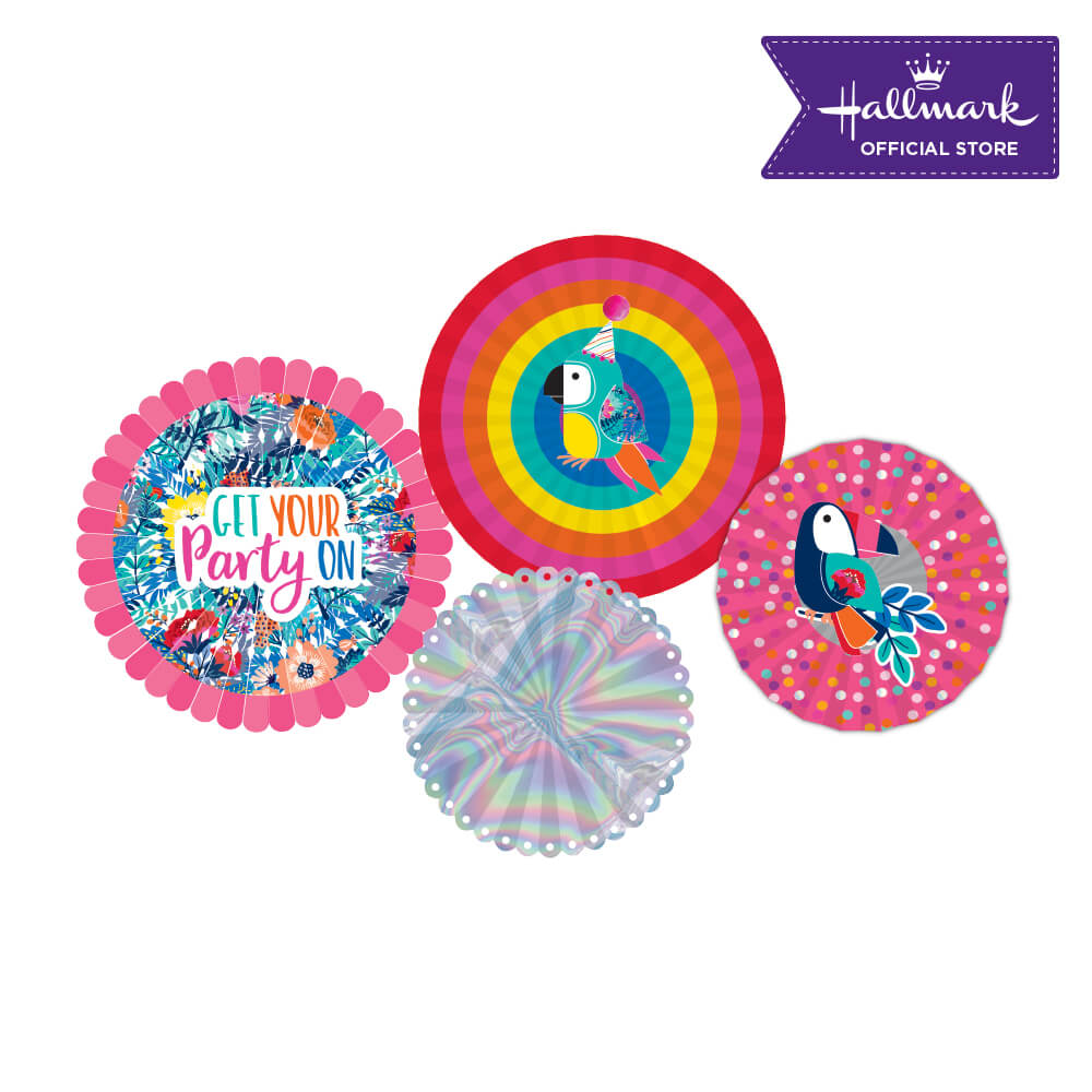Hallmark Party! Party! Pink Birthday Party Decor Fan Set