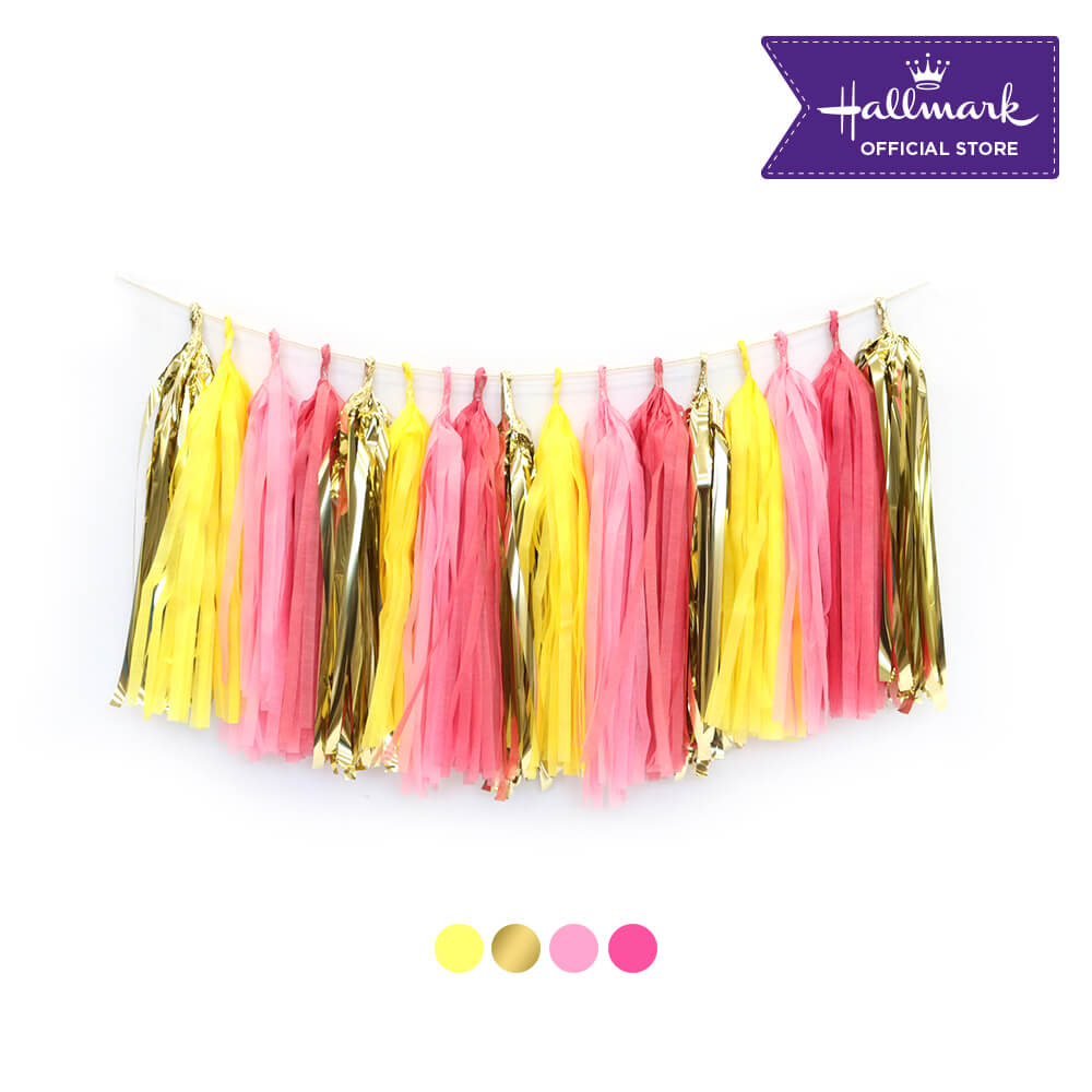 Hallmark Party! Party! Gold, Hot Pink and Pastel Pink Tassel Garland Party Decor