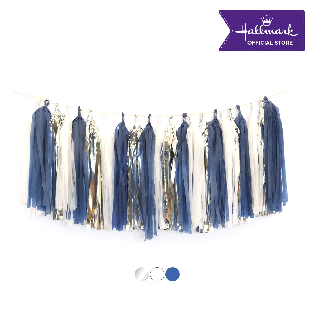 Hallmark Party! Party! Blue, White and Silver Tassel Garland Party Decor